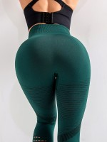 Durable Blackish Green Mesh Ankle Length Leggings High Waist Slim