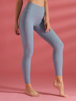 Tight Light Blue Wide Waistband Pocket Sports Leggings Training Apparel