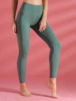 Unvarnished Green Ankle Length Yoga Leggings High Rise Fashion Essential