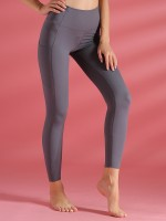 Multi-Function Gray Pockets High Waist Athletic Leggings For Exercising