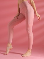Fabulous Pink High Waist Athletic Leggings With Pockets All Over Smooth