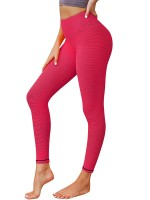 Virtuoso Red Plain Ruched High Waist Yoga Legging For Fitness