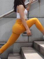 Sensual Yellow Seamless High Waist 3/4 Yoga Legging Leisure