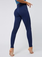 Island Paradise Navy Blue Seamless Yoga Leggings Solid Color Comfort