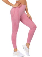 Picturesque Pink Solid Color Sports Leggings Seamless Breathable