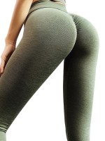 Lavish Army Green Running Leggins Solid Color Cross Waist For Work