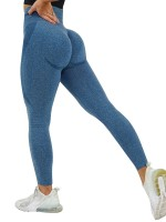 Elasticated Deep Blue Abdominal Control Yoga Pants Patchwork