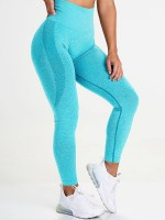 Comfy Sky Blue Wide Waistband Yoga Legging High Rise For Runner