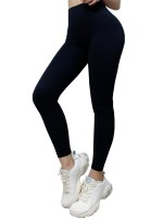 Feisty Black Solid Color Yoga Leggings Seamless For Girl