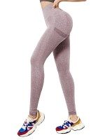 Sportive Light Pink Knit High Waist Athletic Leggings Seamless Athletic Apparel