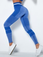 Fitted Blue Wide Waistband Full Length Sports Leggings Athletic Comfort