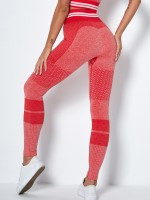 Quick Drying Red Ankle Length Knit Running Leggings Form Fit