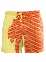 Brightly Elastic Waist Change Color Swim Shorts For Poolside Days