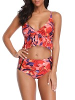 Modern Slender Strap Bikini Backless Ruffle Female Swimwear