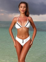 Stunning White Halter Neck Bikini Zipper Low Waist Girls