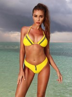 Versatile Yellow Lace-Up Halter Two-Piece Swimsuit For Ladies