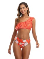 Plain Orange Bikini Floral Paint Single Shoulder Women's Fashion