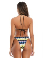 Naughty Blue Open Back Wave Pattern Bikini Casual Fashion