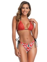 Sunny Red Bikini Bow-Knot Pleated Strap All-Match Fashion
