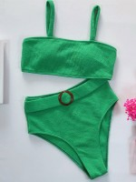 Wonderful Green Solid Color Knit Bikini High Rise Essential