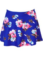 Unique Royal Blue Mini Swimwear Dress Flower Printed Womens