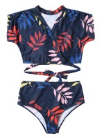 Sweety Bikini Leaf Print Wireless High Rise Beach Stunner