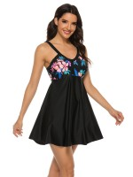 Unvarnished Tankini Open Back Floral Print Beachwear