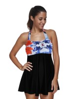 Sweetheart Halter Neck Tankini Floral Pattern Latest Styles