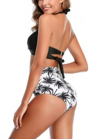 Particularly Black Open Back Bikini Pleated Halter Neck