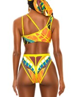 Beautifully Designed Yellow Patchwork Bikini Irregular Shoulder