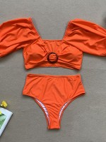Alluring Orange Off Shoulder Solid Color Bikini Regular Fit
