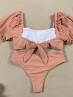 Skin Color 2 Pieces Swimwear Bubble Sleeve Superior Quality