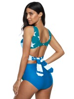 Asymmetrical Blue Star Print 2 Pieces Swimsuit Big Size Summer
