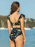 Classic Flounce Ruched Two Pieces Swimsuit Shop Online