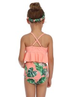 Versatile Orange Mom Kid Swimwear Ruffle Hem Sling Women Outfit