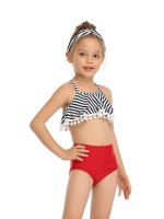 Matching Red Stripe Paint Mom Kid Bikini Pompon Swimwear For Women