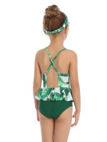 Glamorous Green Cross Backless Patchwork Family Swimsuit Natural Women