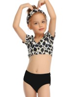 Soft Black Leopard Mother Daughter 2 Pieces Swimsuit All-Match Style