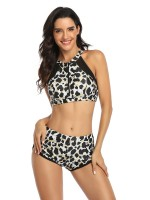 Slinky Black Mom Girl Swimwear Zipper Leopard Pattern Under The Sun