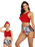 Dreaming Red High Rise Two Pieces Family Bathing Suit Sexy Ladies