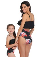Ultra Cheap Black Ruched Mom-Daughter Bikini Set Open Back For Traveling