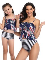 Beach Stunner Purplish Blue 2 Pieces Stripe Mom Kid Swimwear High Rise