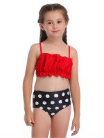 Dazzling Red Dot Paint Family Bikini Pleating Backless Distinctive Look