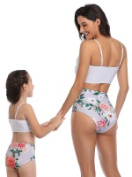 Feisty White Mother Girl 2 Pieces High Rise Floral Print Cheap Wholesale