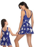 Sleek Blue Strap Mother Daughter Swimwear Floral Paint Beautiful Addition