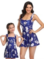 Royal Blue High Rise Mother Kid Swimsuit Floral Paint Superior Quality