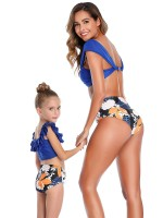 Beach Party Purplish Blue Floral Print Mother Kid Swimsuit Summer