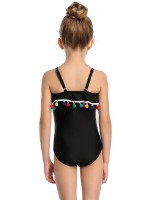 Faddish Black Strap High Cut Mom Daughter Swimsuit Summer Honeymoon