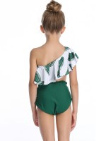 Refreshing Green Ruffle Trim Mother Kid Beachwear Soft