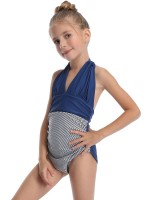 Unique Purplish Blue Wireless Padded Mom Kid Swimwear For Holiday